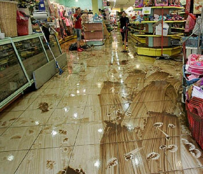 Storm damaged store