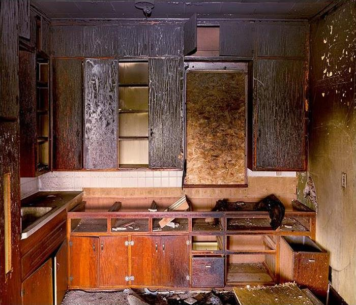 Charred Remains of Kitchen Destroyed by Fire